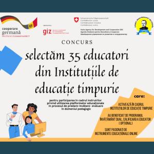 CONCURS Selectăm 35 educatori din IET din țară pentru a fi instruiți în utilizarea platformelor online